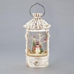 Birch w/Snowman Lantern - $99.99