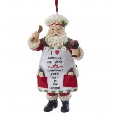 C8996 Resin Chef Santa with Wine - $14.99