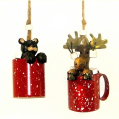 """Moose/Bear in Mug with """"Vermont"""", 2 asst. - $13.99 SOLDOUT"""